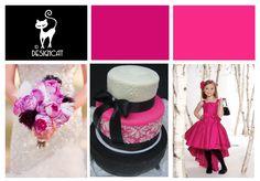 Bright Cerise Pink & Black Wedding Inspiration colour Board by Designcat