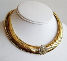 Vintage 40s Coro Designer Gold Metal Coil Gaspipe Rhinestone Collar Necklace