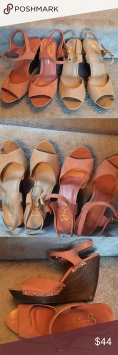 Sz10 Jessica Simpson platform wedge sandals choice Your choice dusty pink EUC or pale nude preowned ask for xtra pics by color interest. Quick listing for now love these! Have many!!!! Jessica Simpson Shoes Platforms