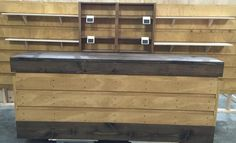 Rustic wood cash wrap sales counter slat board pine. Love this color combination! http://jbrothersandcompany.com/