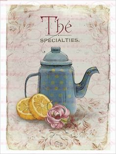 Bügelbilder - Bügelbild Tee Shabby Chic Vintage 1549 - ein Designerstück von Doreens-Bastelstube bei DaWanda