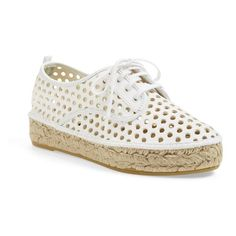 Loeffler Randall 'Alfie' Espadrille Sneaker (895 RON) ❤ liked on Polyvore featuring shoes, sneakers, white, platform espadrilles, perforated leather sneakers, leather espadrilles, espadrilles shoes and leather shoes