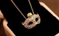 mask retro palace Drill diamond Rhinestone necklace