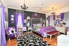 Love this room, and the black accent wall especially! Probably wouldnt use he purple color