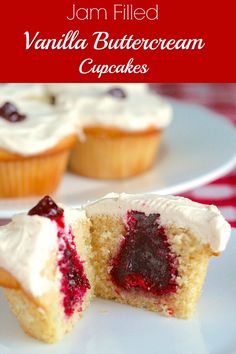 Jam Filled Vanilla Buttercream Cupcakes - beautifully tender vanilla cupcakes with jam filled centers and topped with creamy vanilla buttercream frosting. Cranberry jam or any favourite jam can be substituted for the filling.