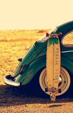 Classic vw beetle and longboard skateboard Van Vw, E90 Bmw, Vw Camping, Kdf Wagen, Vw Vintage, Buggy, Vw T1, Vw Volkswagen, Volkswagen Germany