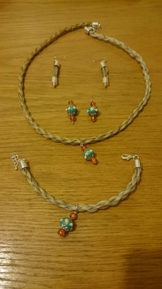 Chunky rope style horse hair set with interchangeable earrings. Made from Navaras Summer Solstice. (saucey)