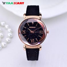 New Fashionable Rose Gold Leather Quartz Wrist Watches for Women's. #watch #WristWatchesforWomens #leatherwatch