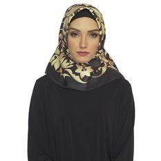 Hijabstore - Jilbab Angel Lelga Original Scarf 050 - Hitam Motif Emas