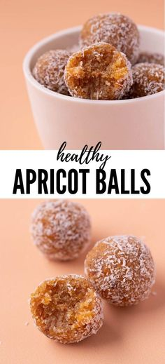 Super easy Apricot Balls made with just 5 ingredients. These healthy Apricot bliss balls are gluten free, dairy free and vegan! Apricot Recipes, Almond Recipes, Raw Food Recipes, Sweet Recipes, Dessert Recipes, Cooking Recipes, Snack Recipes, Desserts, Keto Recipes