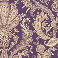Norwall Wallcoverings Inc Silk Impressions x Jacobean Paisley Wallpaper Color: Purple / Gold / Mauve Paisley Wallpaper, Textured Wallpaper, Wallpaper Roll, Hallway Wallpaper, Vinyl Wallpaper, Paisley Design, Paisley Pattern, Paisley Art, Black And White Wallpaper