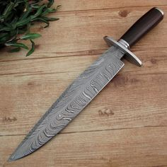 Jacob Smith's Custom Handmade Feather Pattern Damascus Steel Bowie Knife