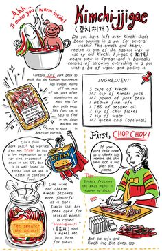 Kimchijjigae is probably comfort food Koreans miss when they are living overseas. And most Korean people think their mother's Kimchiijigae is the best, kind of like how Italian Americans think. Korean Side Dishes, Korean Street Food, Korean Food, Korean Menu, Recipe Drawing, K Food, Korean Dessert, Vietnamese Dessert, Learn Korean