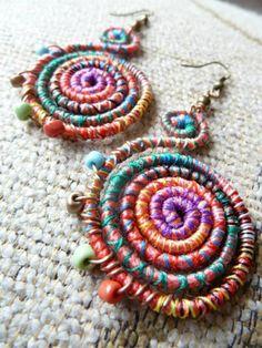 Textile Jewelry, Fabric Jewelry, Beaded Jewelry, Handmade Jewelry, Wire Jewelry, Jewelry Art, Jewellery, Fabric Bracelets, Fabric Earrings