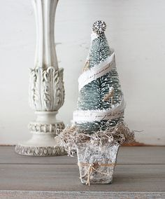 french inspired flocked bottle brush tree nestled in mica flaked peat moss all in a white washed peat pot Christmas Open House, French Christmas, Shabby Chic Christmas, Blue Christmas, Diy Christmas Ornaments, Holiday Crafts, Vintage Christmas, Christmas Decorations, Holiday Pics