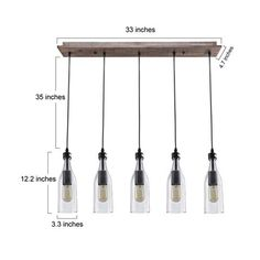 LNC Industrial Edison Vintage Style 5-Light Glass Mason Jar Hanging Ceiling…