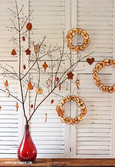 Dried apples, painted acorns and cinnamon applesauce ornament - tutorials for an all natural christmas!