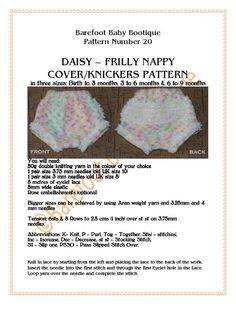 Daisy - Frilly pants/nappy/diaper cover knitting pattern for reborns and baby dolls Knitting Dolls Clothes, Baby Doll Clothes, Crochet Doll Clothes, Knitted Dolls, Doll Clothes Patterns, Doll Patterns, Baby Dolls, Babies Clothes, Baby Booties Knitting Pattern