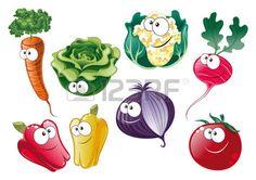 Verduras personajes de dibujos animados y vector Foto de archivo