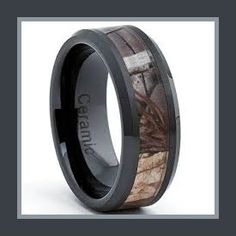 Mens Ceramic Rings Black Ceramic Men's Hunting Camo Ring, Comfort Fit Band, 8mm Size 10 Hunters can wear this ring with confidence. It is a very light weight ring, but holds up in most rough conditions. http://theceramicchefknives.com/mens-ceramic-rings/