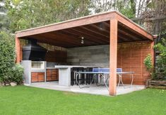 Backyard Pavilion, Backyard Patio Designs, Backyard Pergola, Outdoor Kitchen Patio, Outdoor Kitchen Design, Outdoor Living, Modern Gazebo, Pool Houses, Barbecue Design