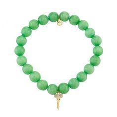 Diamond Key Charm on Beaded Bracelet by Sydney Evan