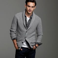 stylish men's cashmere cardigan. i like the ensemble and will see if this look works for my man :)