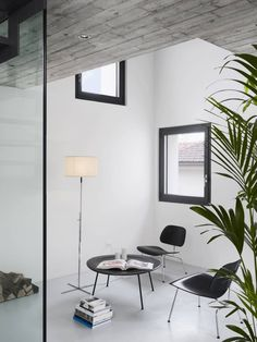 white walls and floors, black furniture black window frames plants