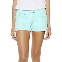 Levi's Shortie Shorts Green ($18) ❤ liked on Polyvore featuring shorts, aqua sky, levi's, green shorts, cut-off, cut off shorts and cutoff shorts