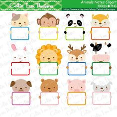 Animals Notes Clip Art Cute Animals holding by CeliaLauDesigns Safari Animals, Cute Animals, School Border, Smurfette, Monogram Frame, Message Card, Borders And Frames, Cute Stickers, Clipart