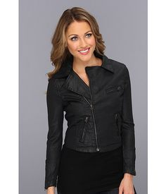 AG Adriano Goldschmied The Coated Biker Jacket Black Slick - Zappos.com Free Shipping BOTH Ways