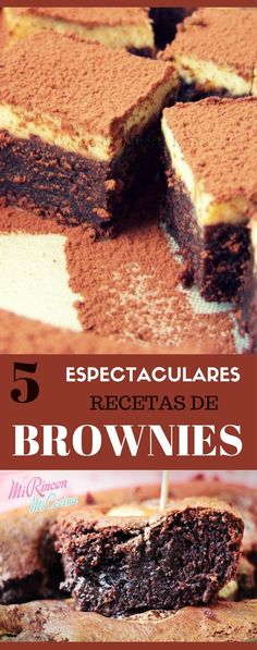 5 espectaculares recetas de Brownies Brownie Recipes, Chocolate Recipes, Dessert Recipes, Kitchen Art, Chocolate Cupcakes, Cake Pops, Catering, Deserts, Good Food