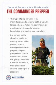 Not all preppers are created equal and it's best to steer clear of preppers who will harm rather than help you. It is always good to know the warning signs so you can spot the preppers you should avoid from a mile away. Check out our list of the types of preppers you should avoid when SHTF… #prepper #survivalist #survival #preparedness #gunassociation Warning Signs, Shtf, Got Him, Survival Skills, Equality, Knowledge, How To Plan, Type, Check