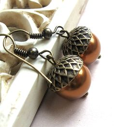 Brass Acorn Earrings | Jewelry Earrings | Botanical Bird