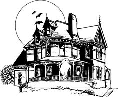 easy haunted house drawing - Google Search | haunted houses ...