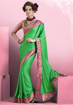 #Green Faux Crepe #Saree with Blouse Online Shopping: SYC1932