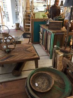 New items made of old wood together with old stuff.