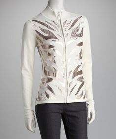 Take a look at this Ivory & Beige Sequin Zebra Cardigan - Women by Donna Salyers' Fabulous-Furs on #zulily today!