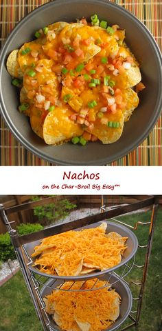 I cannot stop using the cooking rack for my Char-Broil Big Easy. Not only does it give me up to 6 levels of cooking, I figured out I can add 9″ pie pans and cook things I could never cook before. Like nachos. Crunchy nachos, with melted cheese. With all of your favorite toppings. You'll be really happy with how great the chips crisp up in your Big Easy. They're perfect!