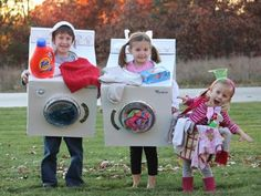 washing machine, dryer, laundry basket Halloween costumes for siblings