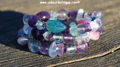 Bracelet pastel en Fluorite, Améthyste et Agate veine de dragon