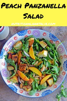 Panzanella Salad: Tuscan Bread Salad with Peaches Salad Recipes For Dinner, Vegetarian Recipes Dinner, Healthy Salad Recipes, Real Food Recipes, Diabetic Recipes, Vegan Recipes, Moroccan Lentil Soup, Bread Salad, Italian Salad