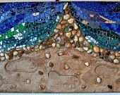 Mosaic, Mixed Media, Glass, Shoreline Footsteps in Sand.