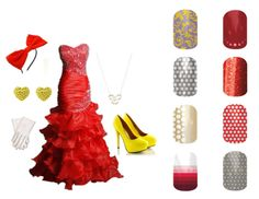 Minnie Mouse Prom Jamberry Nails Katie Floral, Subtle Strand, Gray and White Polka Red Sparkle, Metallic Fade, Poppy and White Polka, Red Dawn, Swiss Dot Gray and Lemon http://cathysnails.jamberrynails.net/