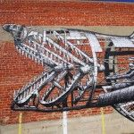 A Mechanical Shark Mural by 'Phlegm' in San Diego