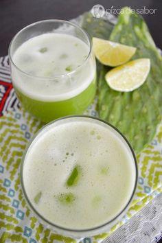 Agua de nopal con piña (agua de sabor sin azúcar & deliciosa) www.pizcadesabor.com