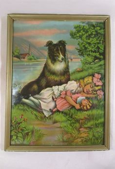 Antique Chromolithograph Collie Dog by UrbanRenewalDesigns on Etsy, $95.00