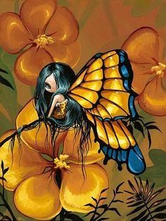 Art: Yellows by Artist Nico Niemi Elfen Fantasy, Fantasy Art, Magical Creatures, Fantasy Creatures, Fairy Pictures, Cute Fairy, Butterfly Fairy, Gothic Fairy, Beautiful Fairies