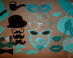 BREAKFAST at TIFFANY'S  Photo Booth Mustaches ~ Glasses Props  Birthday Party Weddings Props Props on a Stick PhotoBooth