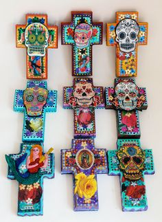 Mexican Sugar Skull on wooden cross / ROYGBIV by TheVirginRose